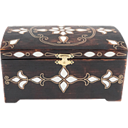 Large Turkish Wooden Jewelry Box or Chest - Camel Bone Inlay