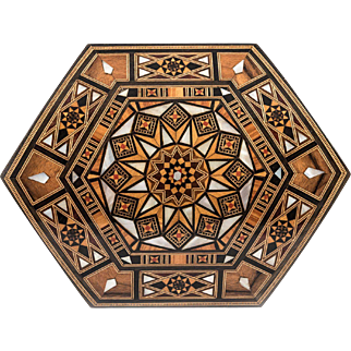Lebanese Handmade Hexagonal Wooden Jewelry Box, Mother of Pearl Inlay