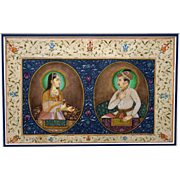 Antique India Mughal Royal Painting, 17th Century