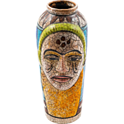 Turkish Unusual Artisan Human Face Vase, 20th Century