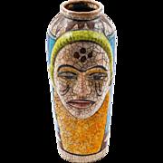 Turkish Unusual Artisan Human Face Vase, 20th Century
