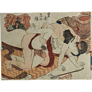 Japanese Antique Erotic Shunga Print, Sex on Tatami, 19th Century