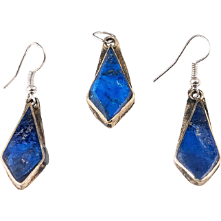 Vintage Lapis Lazuli Earrings and Pendant in White Metal