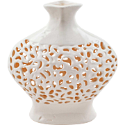 Snow White Intricate Openwork Ceramic Vase from Turkey