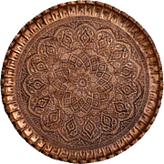 Turkish Artisan Copper Tray with Floral Patterns, 1980´s
