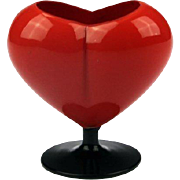 Bohemian Tango Glass Heart Shaped Vase, 1920´s