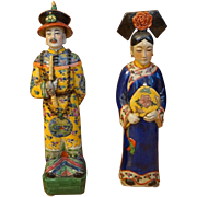 Porcelain Chinese Figures in Qing Dynasty Attire