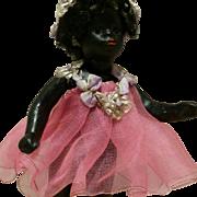 """3,75"""" Antique Gebruder Kuhnlenz Late 1800 Mignonette Black Doll all bisque barefoot mold number 61/8"""
