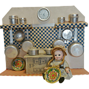 """1928th Rare """" One in a kind """" Vintage Italian Kitchen for doll in tin, cardboard and aluminum toy kitchen"""