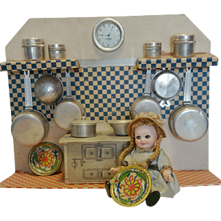 "1928th Rare "" One in a kind "" Vintage Italian Kitchen for doll in tin, cardboard and aluminum toy kitchen"