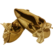 Antique Original Jumeau Shoes Beige Kid Leather French Bebe Shoes for Jumeau, Bru, Steiner or for other French Doll 6 of 1890th