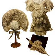 """Wonderful Dress for French Doll Jumeau, Steiner, Bru sewn by hand in Old Silk,Lace and in Organza fits for 24""""-26"""" doll with umbrella"""