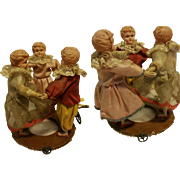 "Antique German Automaton three babies doll round dance 1920 "" Ring Around Rose"" perfect condition"