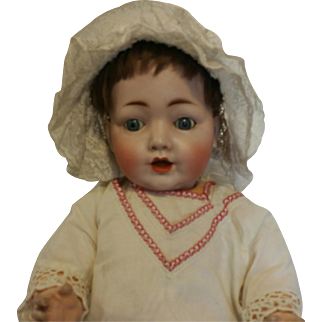 Really very expressive Antique German Doll Hertel & Schwab mold number 99/11 Character Baby Body König & Wernicke with working rattle