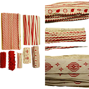 Antique Lot of 43 yards total of red and white trim, lace and ric rac embroidered