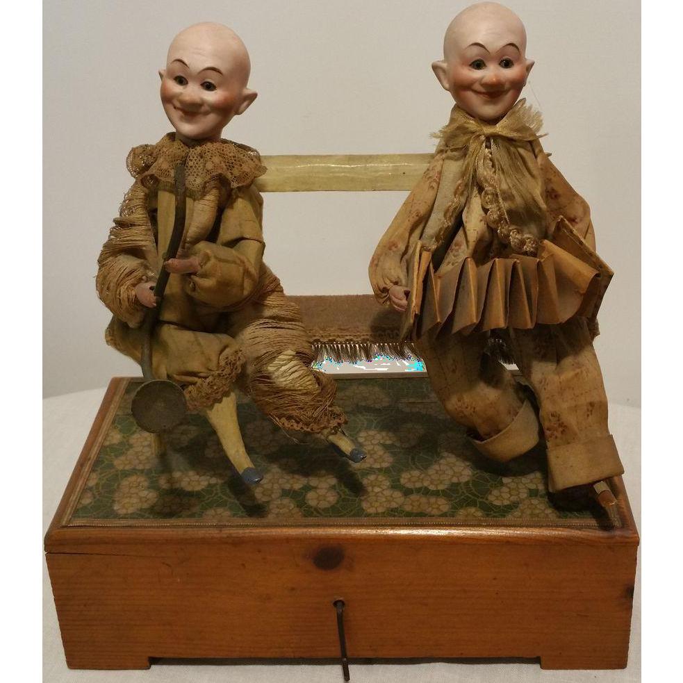 1920 Antique Couple Clown Doll Head In Bisquit Semi
