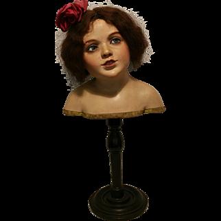 1890 Antique Italian Mannequin in Papier Mache on pedestal