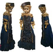 "25,69"" Antique Doll Wax over Composition shoulder head velvet and cotton blue velvet"