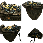 1900 Antique wicker basket bag for doll with cloth flower