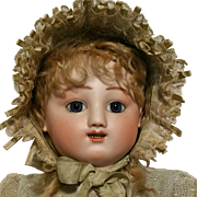 "22,83"" Jules Steiner Bebe Gigoteur 1880th kicking-crying baby Wonderful Antique Doll full bisque face"