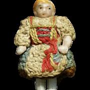 "1,37"" Little Sweet Carl Horn All Bisque doll in all original dress"