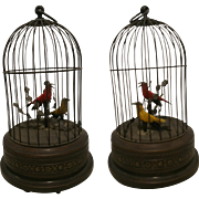 "11"" tall Automaton Singing Bird in Cage Music Box perfectly working 20th Century Made in Germany"