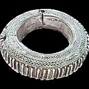 vintage Bedouin Silver hinged bracelet from Yemen 1930s