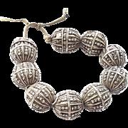 vintage Yemeni jewish silver granulation globe beads 1930s