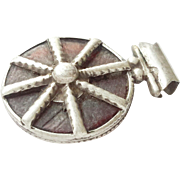 vintage Ethiopian Amber silver amulets cross pendant 1930s