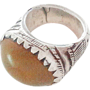 Moroccan vintage Agate Silver Fulani Ring 1930's