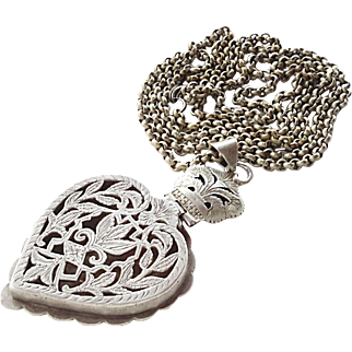 vintage Yemen Silver Heart shaped Pendant with old silver chain 1930's