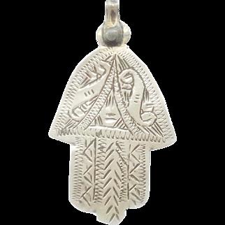 Beautiful vintage silver Moroccan Berber hamsa pendant 1930s Hand Fatima