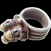 vintage Yemen Bawsani wedding Silver and brass 1930s Ring size 8.5