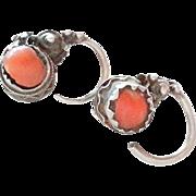 vintage Berber enamel Silver coral earrings 1910s Southern Morocco