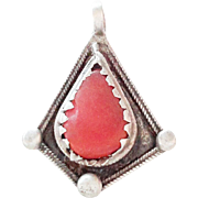 vintage Berber Silver coral Pendant 1910s Southern Morocco
