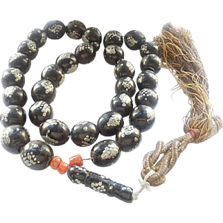 antique Black Coral Silver In Lay Beads 1910s Islamic Masbaha