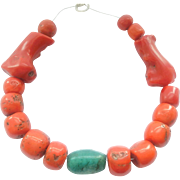 beautiful Antique Moroccan red coral amazonite 1800s strand Beads
