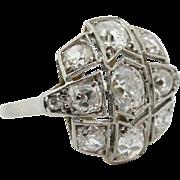Antique Edwardian Belle Epoque 2.24 tcw Old Cut Diamond Vintage Platinum Ring