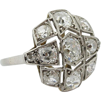 Antique Edwardian Belle Epoque 2.24 tcw Old Cut Diamond Vintage Platinum Ring