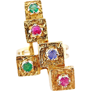 Retro Abstract Gemstone Ring Vintage in 18k Yellow Gold Ruby Emerald Sapphire sz 5.75