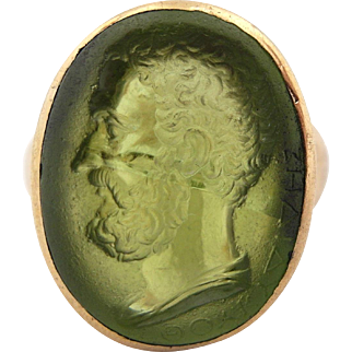 Signet Ring w/ Greek Thucydides in Natural Gemstone 18ct Yellow Gold Mens Pinkie sz 4