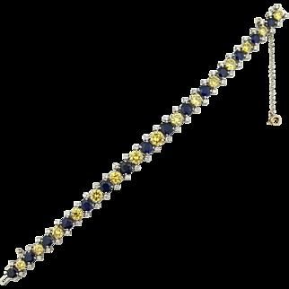Certified 15.60 tcw Yellow Diamond & Sapphire Natural Bracelet Platinum $30,000