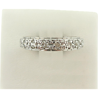 Art Deco Platinum Diamond Eternity Infinity Band Ring Wedding Vintage sz 6.75