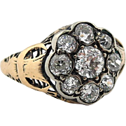 Antique Victorian .70 tw Diamond Ring Filigree w/ Moon Anniversary Engagement  SZ 5  **READ BEAUTIFUL HISTORY**