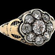 Antique Victorian .70 tw Diamond Ring Filigree w/ Moon Anniversary Engagement  SZ 5  **READ BEAUTIFUL HISTORY**