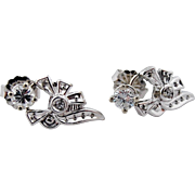 Antique Edwardian Diamond Earrings Studs w/ Bows Upcycled in Platinum UNIQUE