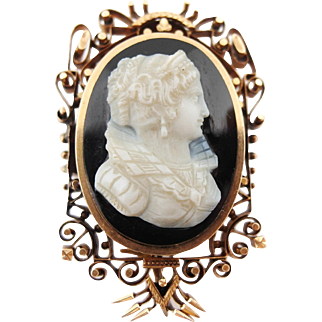 Antique Mid Victorian Onyx Cameo Solid 14k Rose Gold Pin Pendant Brooch