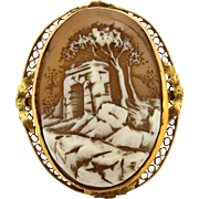 Early 1900's Art Deco Cameo Landscape Arch Scene Pin Brooch Pendant Yellow Gold
