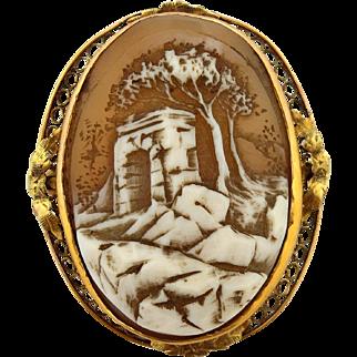 Early 1900's Art Deco Cameo Landscape Arch Scene Pin Brooch Pendant Yellow Gold