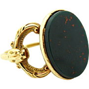 Antique Upcycled Men's Bloodstone Green & Red Ring 14k Yellow Gold sz 8.75
